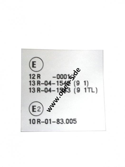 Ex+E2 - ECE Reglement-Sticker from My. 1987