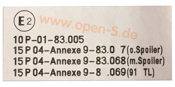 E2 - Annexe - ECE Reglement-Sticker from My. 1987