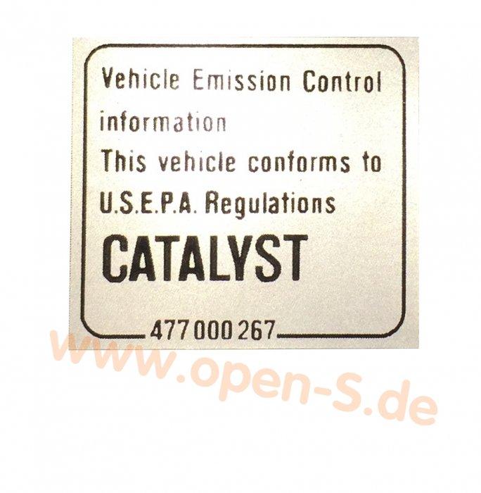Klebeschild Catalytic Converter (1976 – 2005)