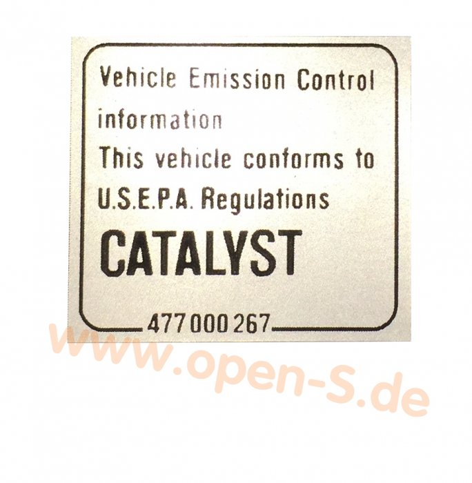 Klebeschild Catalytic Converter (1976 – 2005)