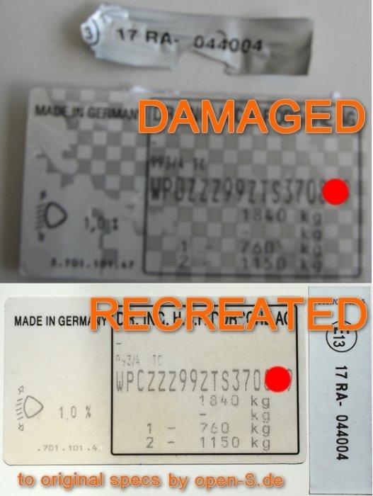 Plaque d identification blanche - individuellement 1994-2000