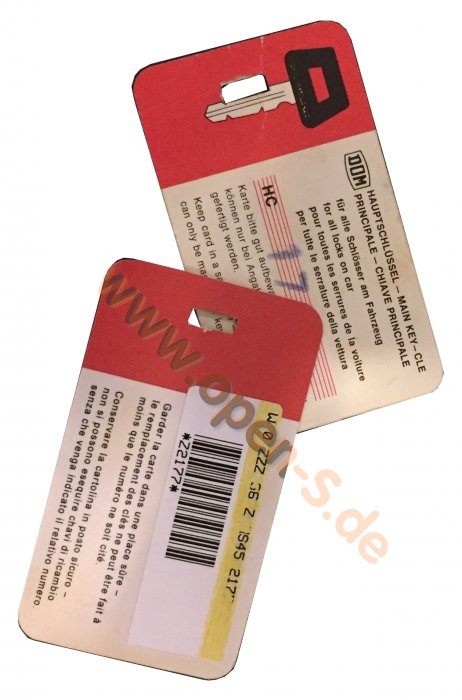 Master key card - individualized