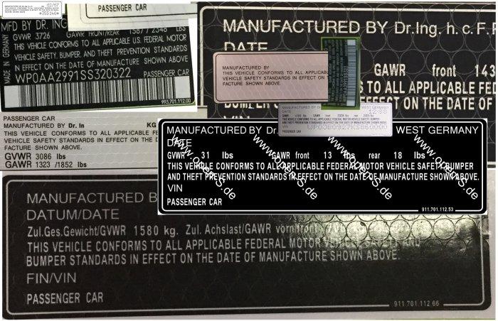 Compliance sticker 1969 to 1998
