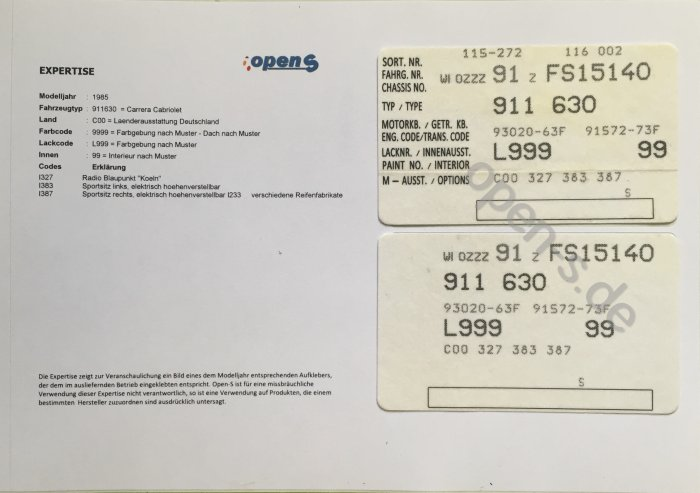 Fahrzeug-Options-Kleber - Expertise, 1981 bis 1986