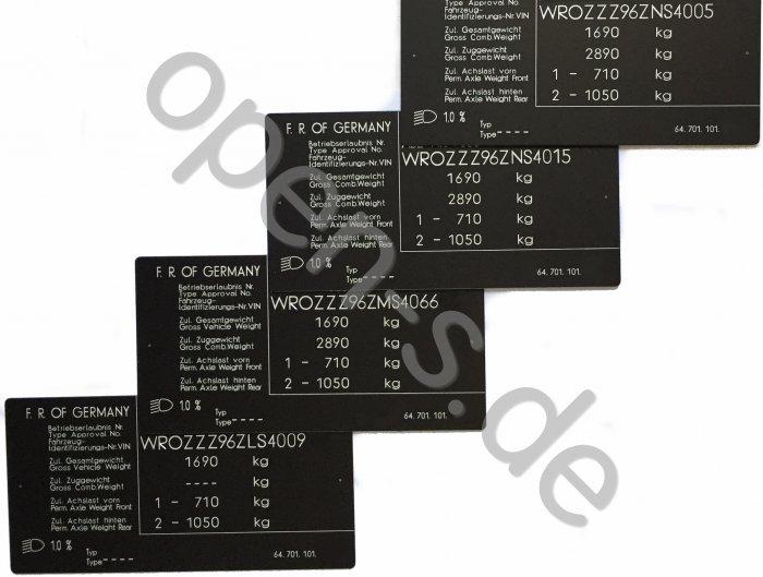Plaque d identification aluminium - individuellement 1991-1994