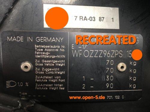 Aluminium Typenschild individuell - Transaxel - VW