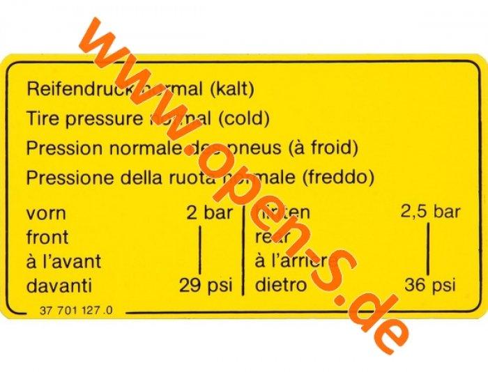Tire-Pressure-Sticker  Version until 1991