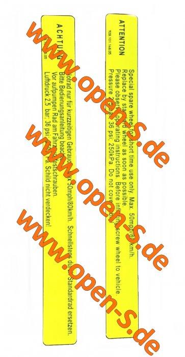 """""""Notrad"""" - spare wheel sticker  Version until 1998"""