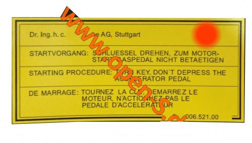 Starting procedure - adhesive label glovebox 1983-1985