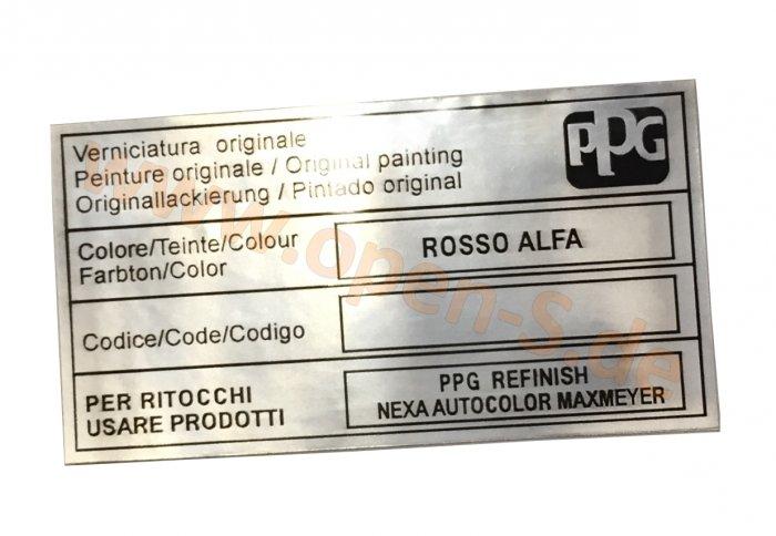 Alfa Romeo Paintcode-Sticker Aluminum