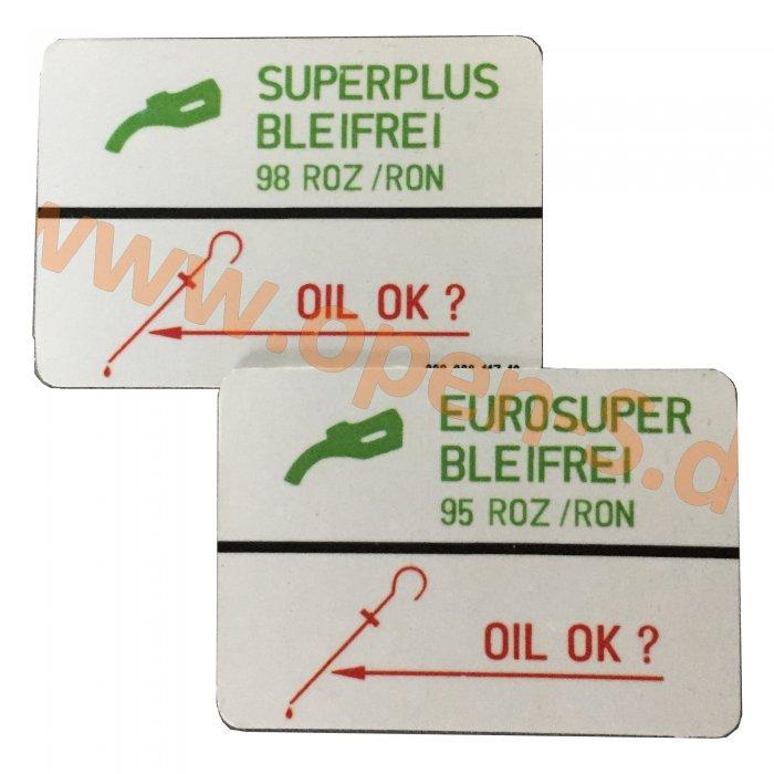Klebeschild Kraftstoffart Eurosuper 95 oder Super Bleifrei 98 ROZ/RON  Color