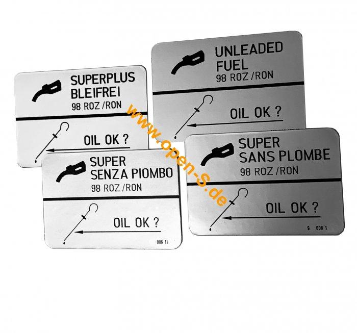 Sticker Fuel type Super Unleaded 98 ROZ/RON
