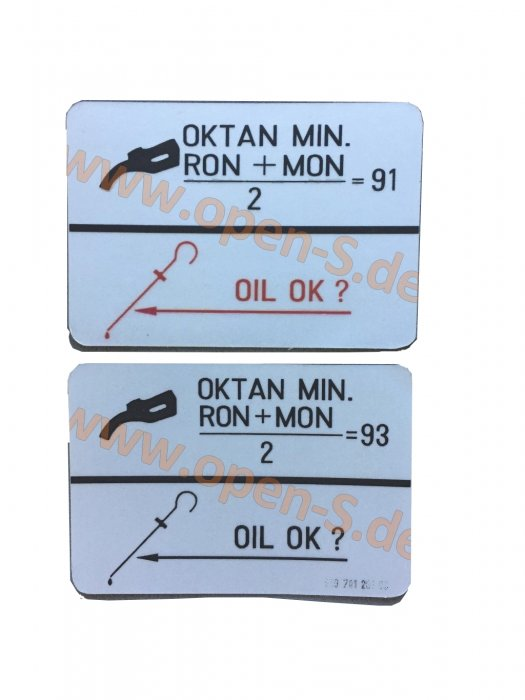 Adhesive label fuel type - tank cap 93 RON/MON - since 1987