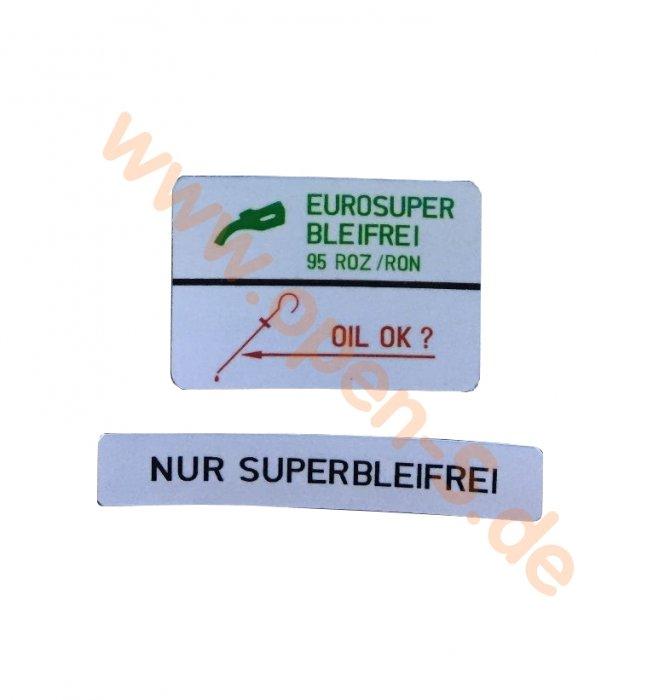 Klebeschild Kraftstoffart Eurosuper Bleifrei 95 ROZ/RON - Set 964 ; C3.2 Deutsch