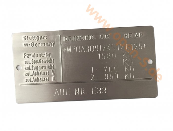 Targa di identificazione alluminio - individualmente 1987-1992