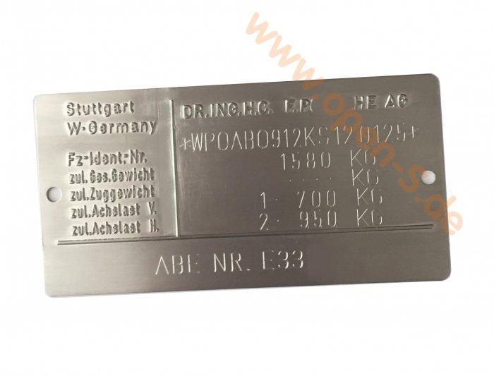 Aluminium Typenschild 911;930;928;964 individuell, Alu silbern - 1981 bis 1991