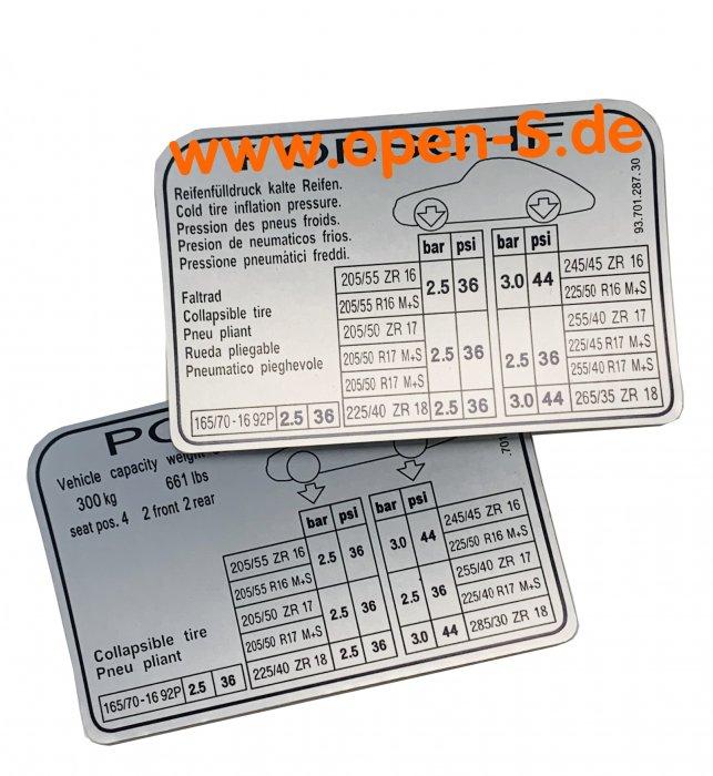 Tire pressure adhesive label - since 1994