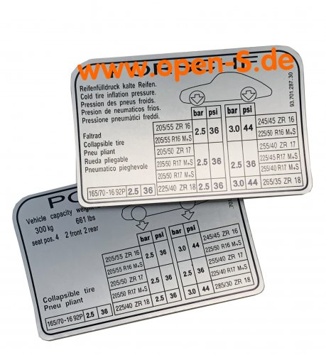 Tire pressure adhesive label - since 1994