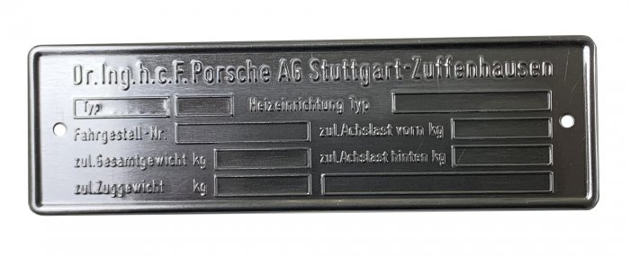 Type ID plate for Porsche 911/912 year 74 - about 82 engraved