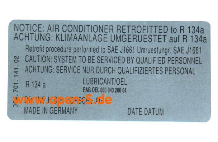 R134a Conversion - adhesive label 1989-1994