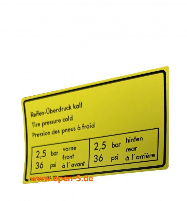 Tire pressure adhesive label - 928