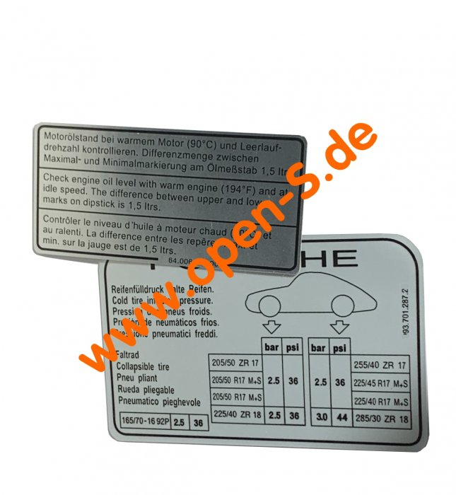 SET 993 Tyre pressure and engine oil level from 1994