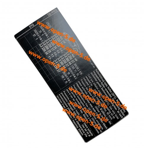 Tyre pressure and colour sticker - 997 All versions