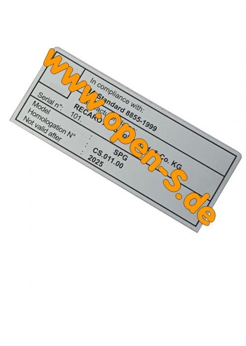 FIA - RECARO seats sticker individually